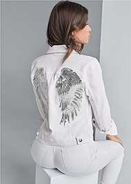 Cropped back view Sequin Detail Jean Jacket