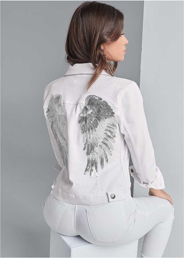 Sequin Detail Jean Jacket,Basic Cami Two Pack,Bum Lifter Jeans,Multi Strap Ankle Wrap Heel,Animal Texture Bling Belt,Studded Handbag