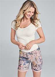 Cropped Front View Reversible Shorts