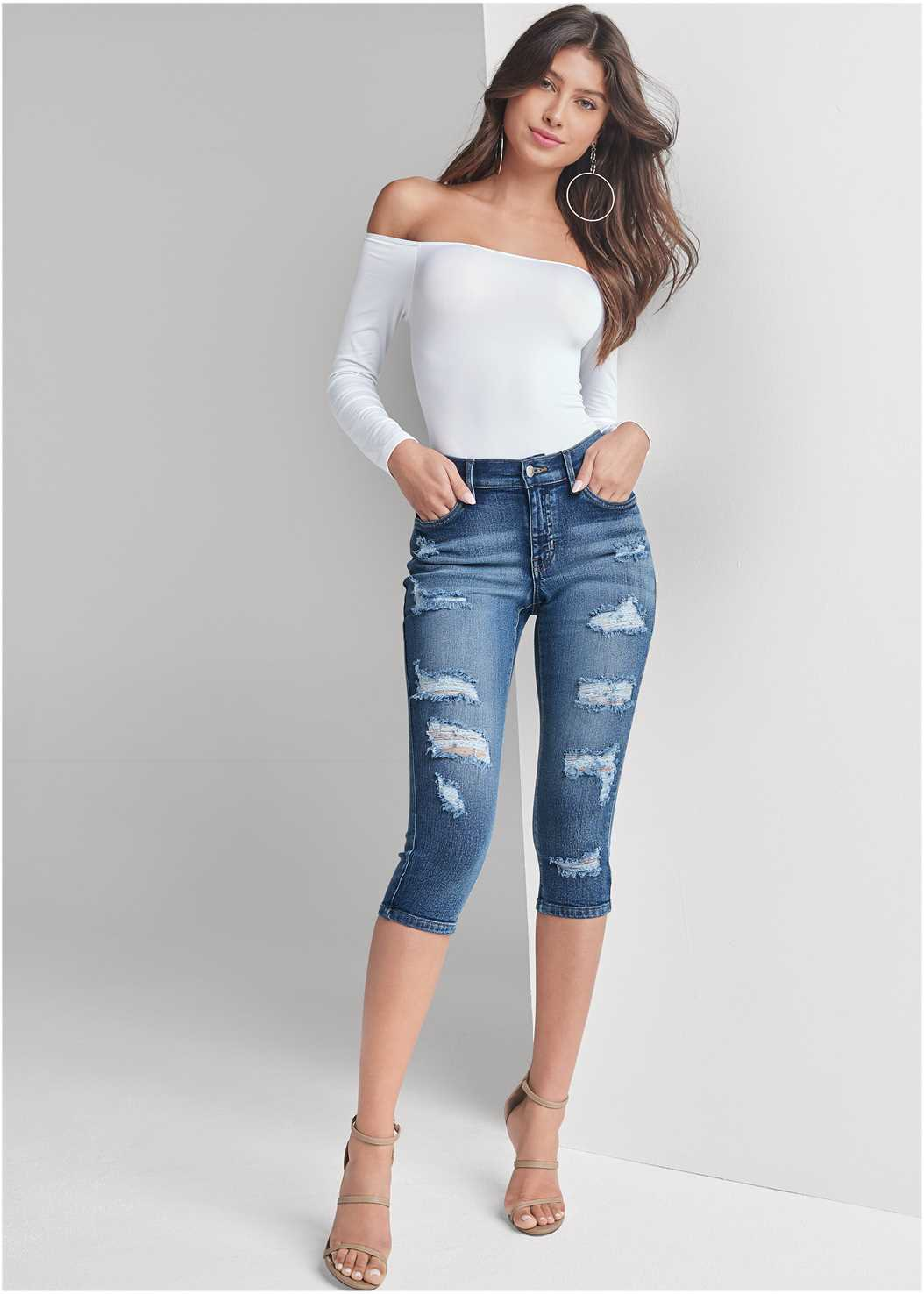 Ripped Capri Jeans,Off The Shoulder Top,High Heel Strappy Sandals