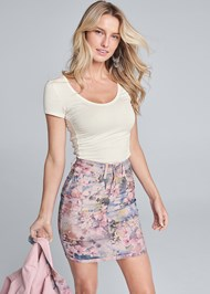 Cropped Front View Reversible Skirt