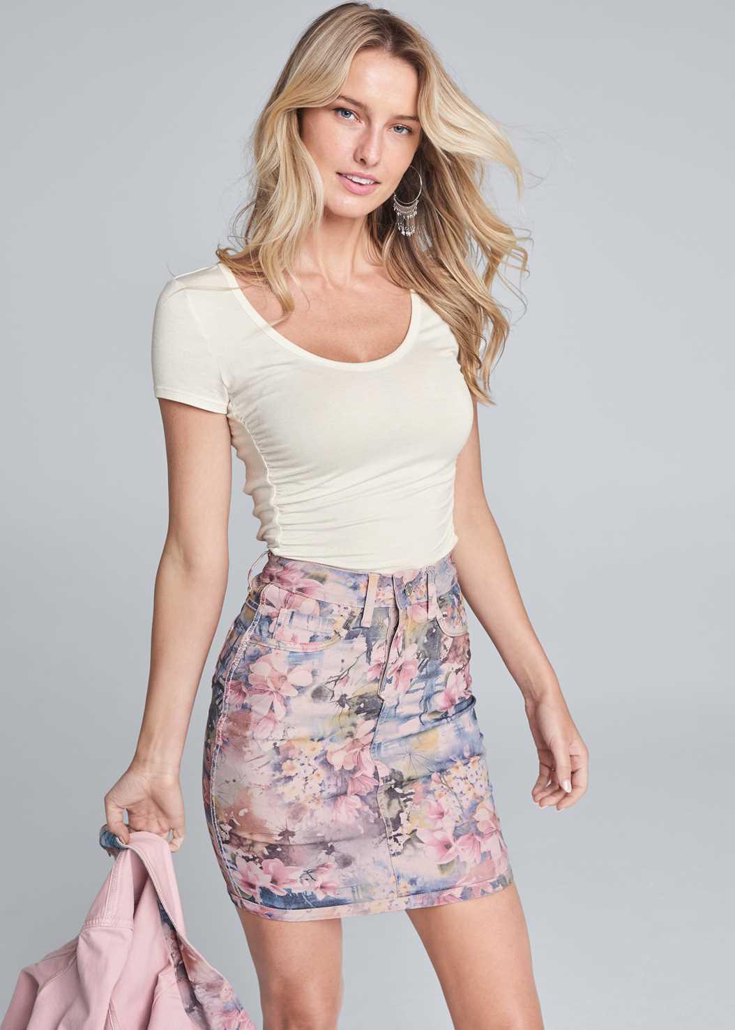 Reversible Skirt,Ruched Detail Top,Double Strap Cork Wedge,Tassel Hoop Earrings