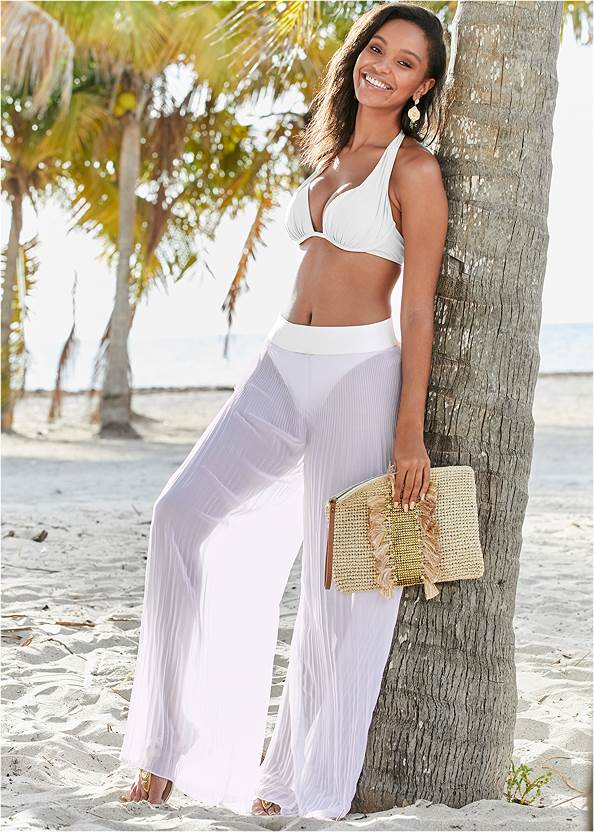 Pleated Cover-Up Pant,Marilyn Underwire Push Up Halter Top,Scoop Front Classic Bikini Bottom