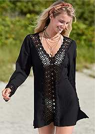 Front View Crochet Trimmed Cover-Up Tunic