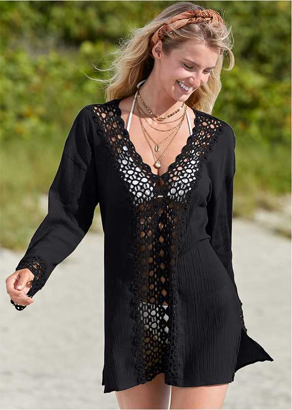 Crochet Trimmed Cover-Up Tunic