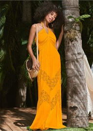 Front View Lace Detail Maxi Cover-Up