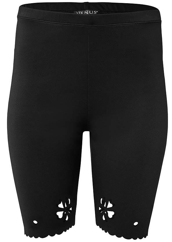 Laser Cut Bike Shorts,Cold Shoulder V-Neck Top,Rhinestone Thong Sandals,Tassel Hoop Earrings