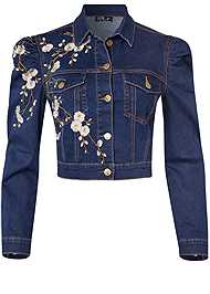 Ghost with background  view Embroidered Jean Jacket