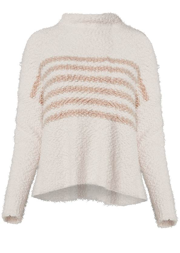 Ghost with background  view Striped Mock Neck Sweater