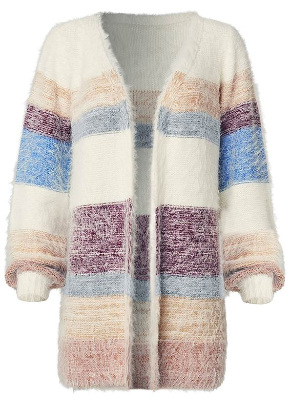 Ghost with background  view Striped Eyelash Cardigan