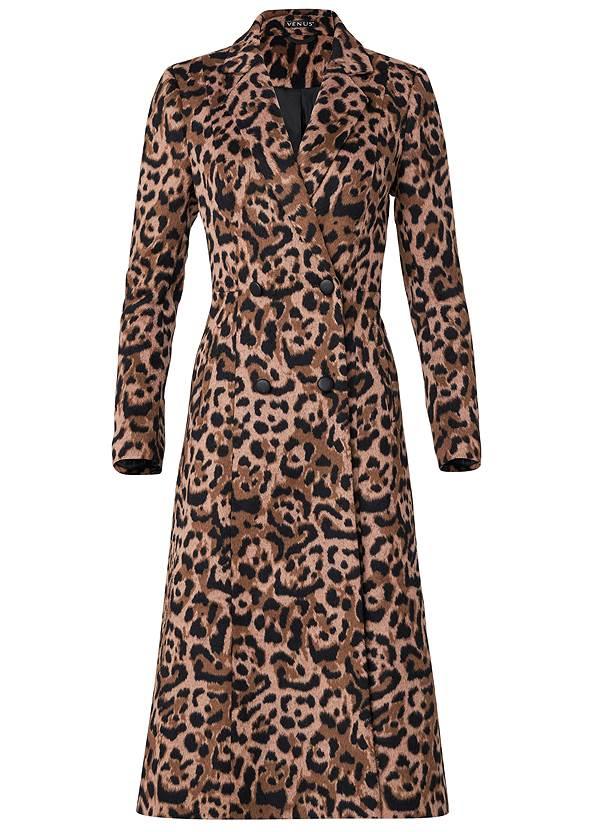 Alternate View Long Leopard Print Coat