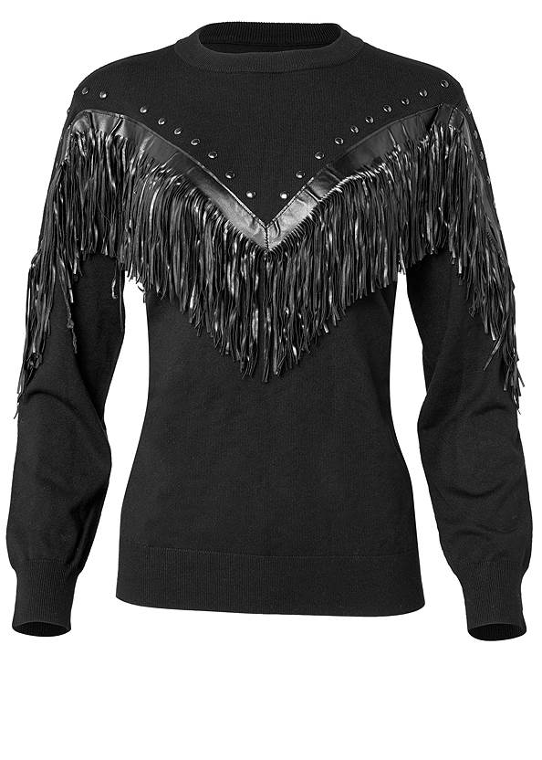 Ghost with background  view Fringe Detail Sweater
