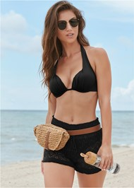 Front View Sheer Cover-Up Shorts