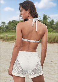 Back View Sheer Cover-Up Shorts