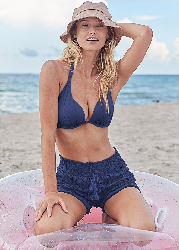 Sheer Cover-Up Shorts,Marilyn Underwire Push Up Halter Top,Scoop Front Classic Bikini Bottom ,Low Rise Classic Bikini Bottom ,Sweetheart Tie Front Halter Monokini,Denim Sandal,Square Hoop Earrings