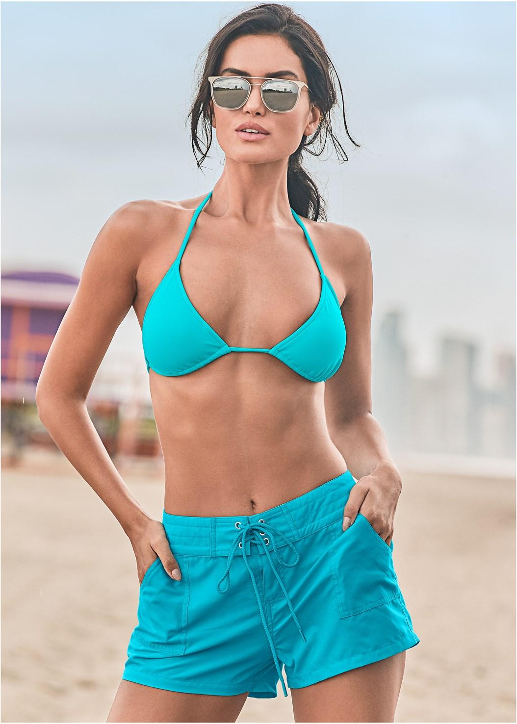 Board Short Cover-Up,Triangle String Bikini Top,String Side Bikini Bottom