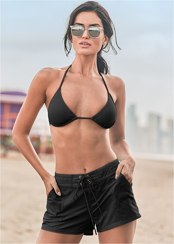 Board Short Cover-Up,Triangle String Bikini Top,Low Rise Classic Bikini Bottom ,Scoop Front Classic Bikini Bottom ,Mesh Tank One-Piece,Fringe Macrame Bag,Espadrille Platform Wedges