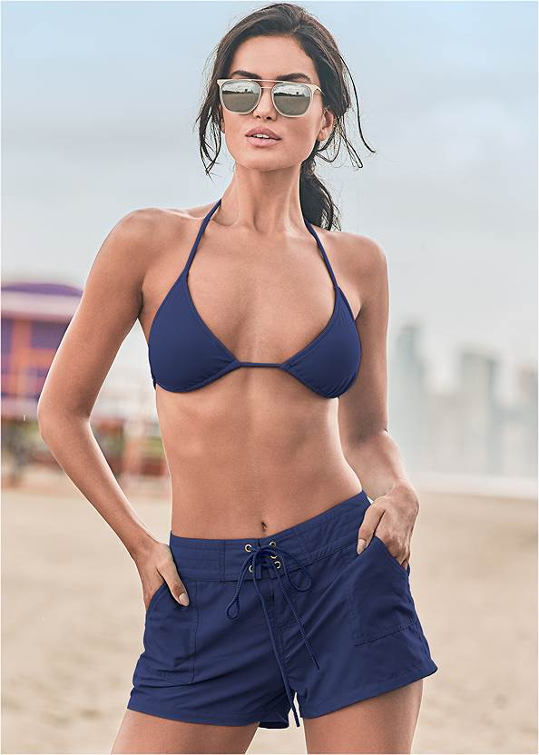 Board Short Cover-Up,Triangle String Bikini Top