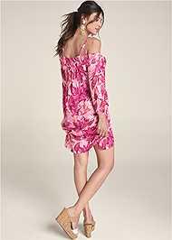 Back View Floral Cold Shoulder Dress