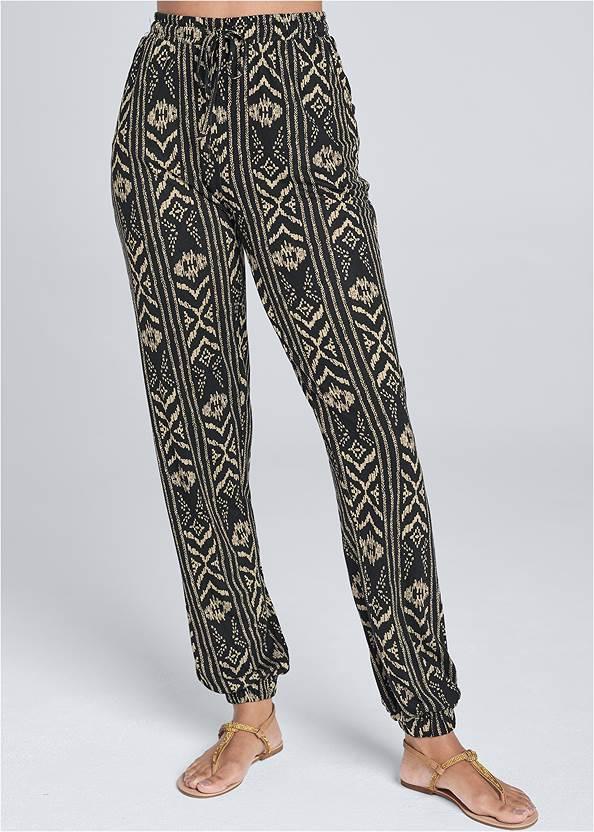 Front View Printed Jogger Pants