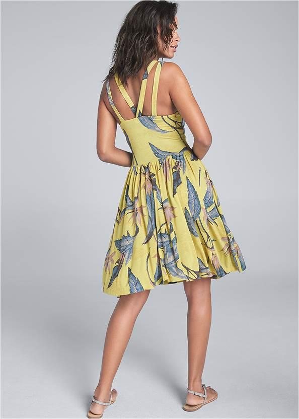 Back View Palm Printed Dress