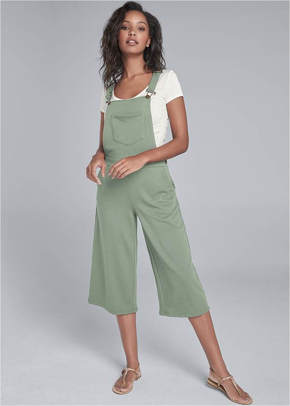 Lounge Culotte Overalls,Rhinestone Thong Sandals