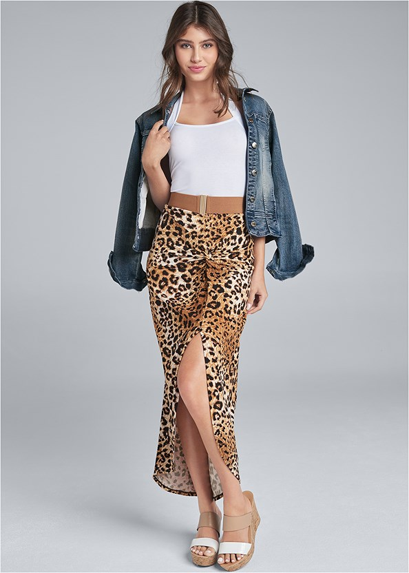 Leopard Print Maxi Skirt,Easy Halter Top,Cropped Puff Sleeve Denim Jacket,Push Up Bra Buy 2 For $40,Double Strap Cork Wedge,Knot Hoop Earrings,Beaded Stretch Belt,Stud Detail Crossbody