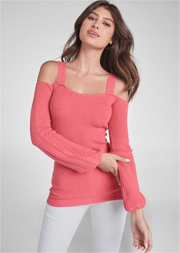 Cold Shoulder Sweater,Bum Lifter Jeans,Double Strap Cork Wedge