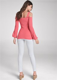 Back View Cold Shoulder Sweater