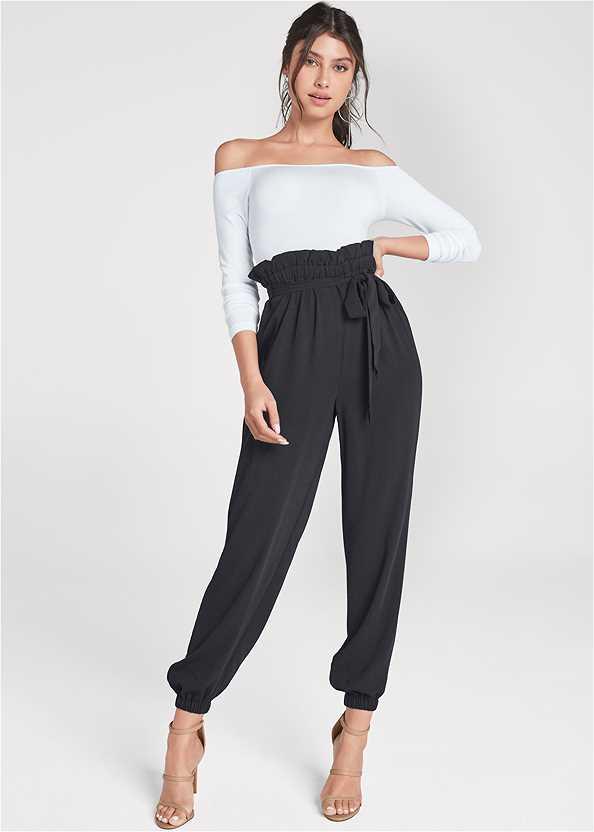 Lightweight Paperbag Pants,Off The Shoulder Top,Off The Shoulder Bodysuit,High Heel Strappy Sandals,Lucite Detail Heels