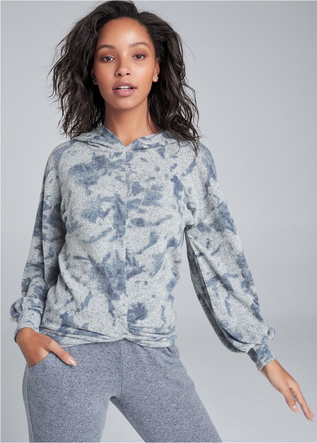 Cozy Knot Detail Hacci Sweatshirt,Cozy Lounge Hacci Joggers