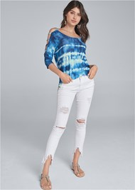 Front View Printed Sleeve Detail Top