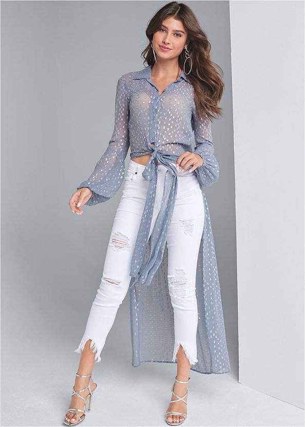 Metallic High Low Top,Triangle Hem Jeans,Multi Strap Ankle Wrap Heel,Studded Satchel Crossbody