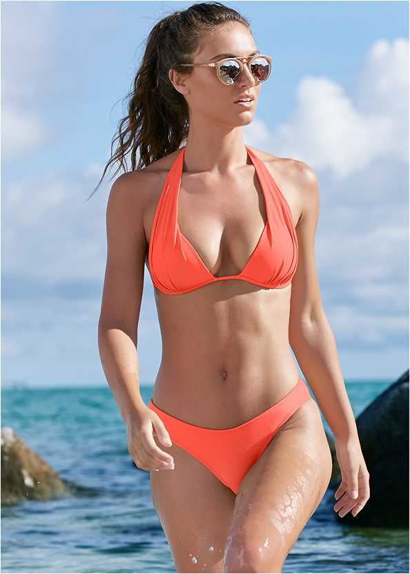 The Multiway Marilyn Top,Scoop Front Classic Bikini Bottom ,Cheeky Tie Side Bottom,Wrapped Mid Rise Bottom,Adjustable Side Swim Short,String Side Bikini Bottom,Mesh Trimmed Cover-Up Dress