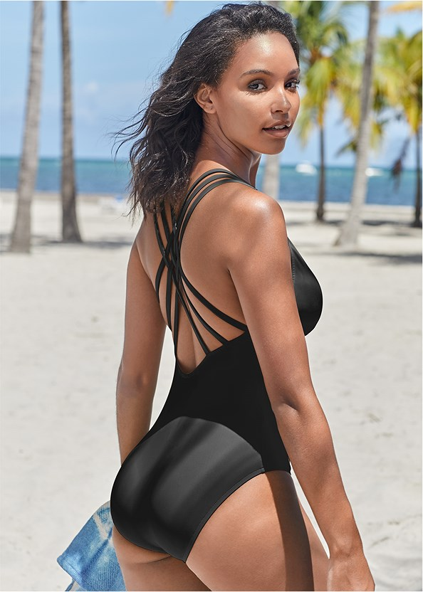 Strappy Back One-Piece,Front Tie Kimono Cover-Up,Circular Straw Bag