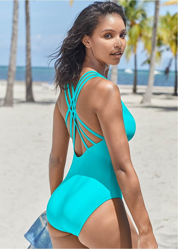 Cropped back view Strappy Back One-Piece