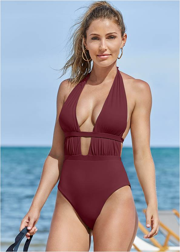 Jet Setter One-Piece,Deep V Cover-Up Tunic