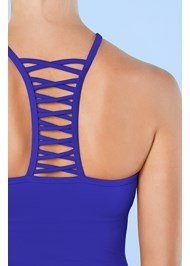Detail back view Strappy Back Tankini Top