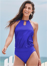 Full front view High Neck Blouson Tankini Top