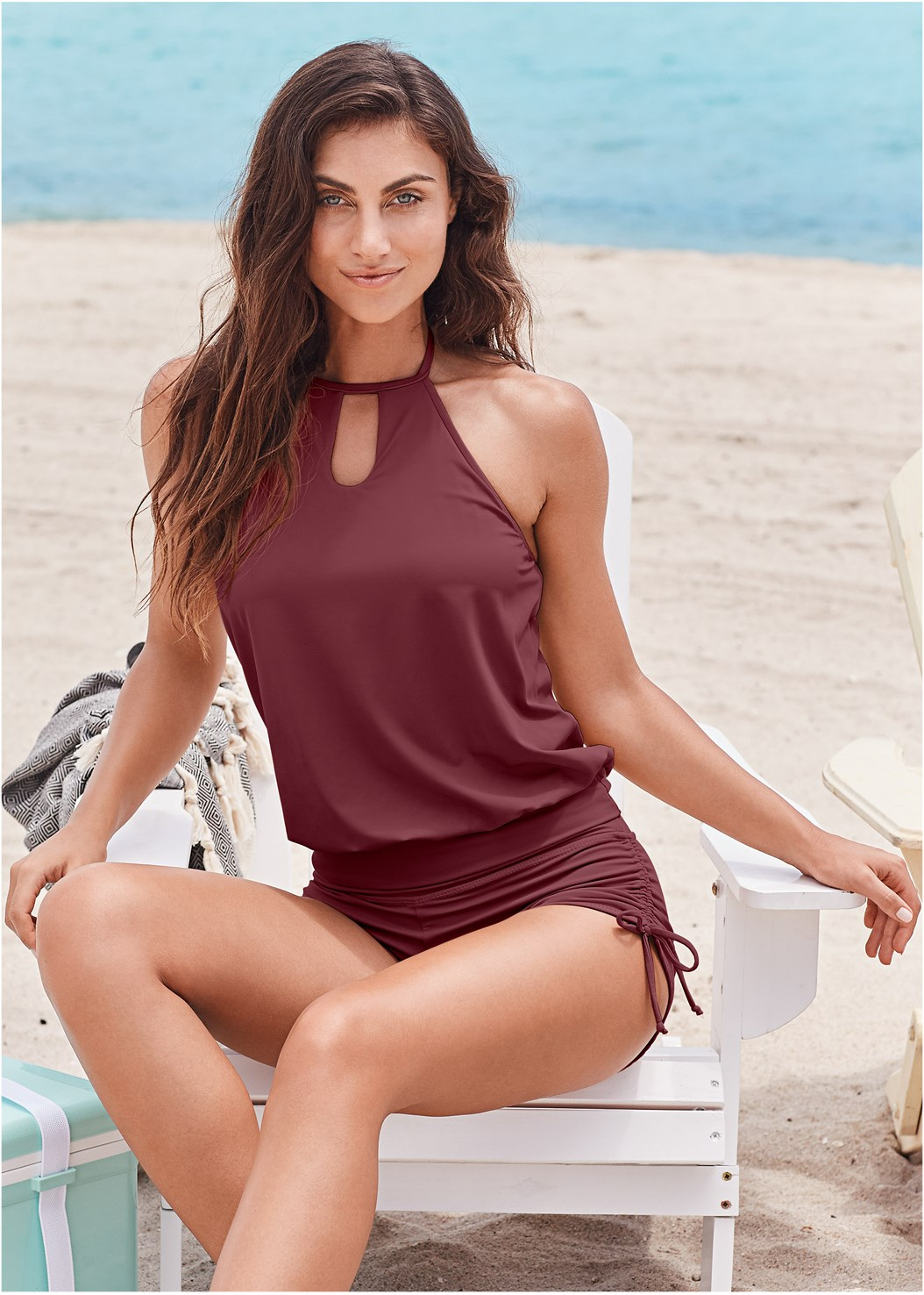 High Neck Blouson Tankini Top,Adjustable Side Swim Short,Mid Rise Hipster Classic Bikini Bottom,Mid Rise Swim Skirt Bikini Bottom,Lace Kimono Cover-Up,Circular Straw Bag