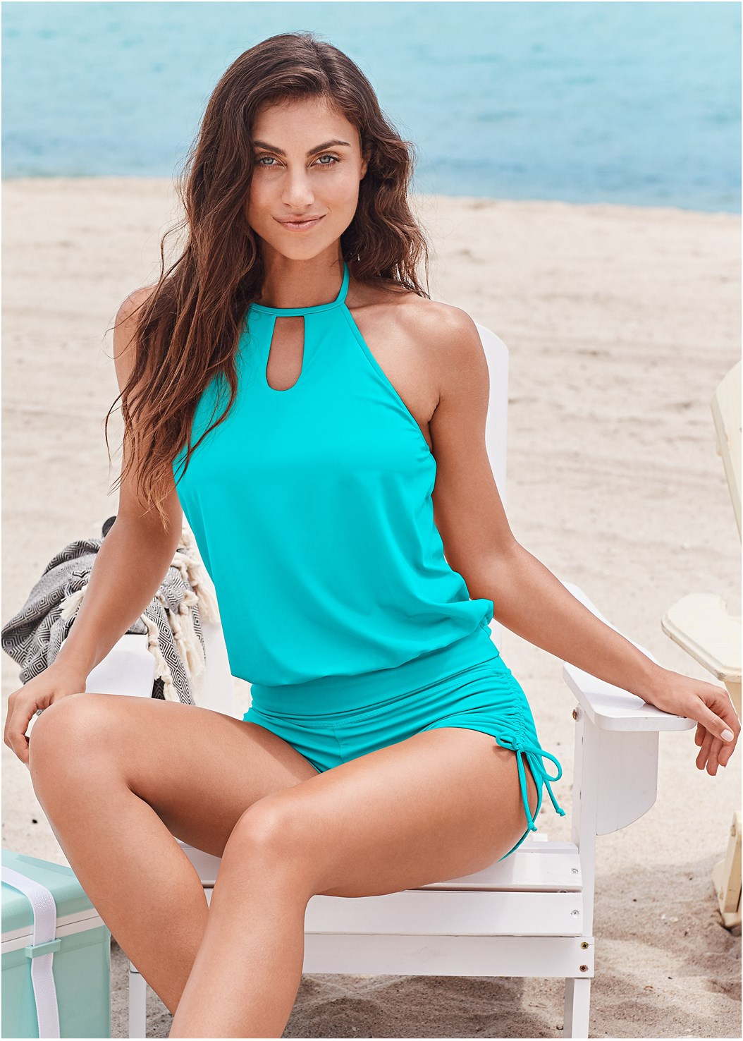 High Neck Blouson Tankini Top,Adjustable Side Swim Short,Mid Rise Hipster Classic Bikini Bottom,Swim Short,Long Wrap Cover-Up Dress,Multi Color Stone Sandals