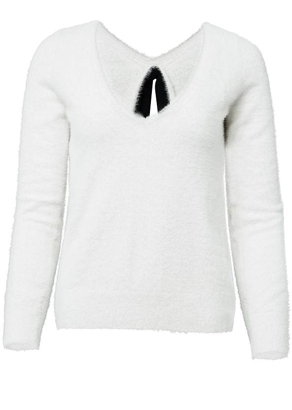 Ghost with background  view Bow Detail Eyelash Sweater