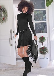 Front View Pleated Sweater Dress
