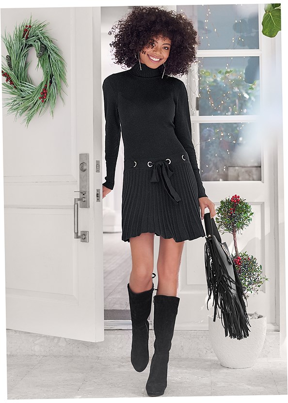 Pleated Sweater Dress,Long Double Breasted Jacket,Tie Back Boots,Slouchy Mid-Calf Boot,Bauble Hoop Earrings,Quilted Handbag With Charm