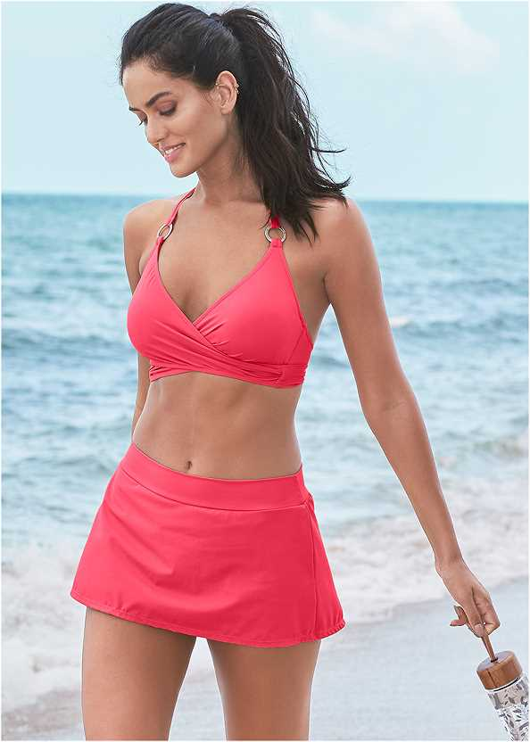 Underwire Wrap Top,Mid Rise Swim Skirt Bikini Bottom,Sally Mid Rise Bottom,Scoop Front Classic Bikini Bottom ,Adjustable Side Swim Short