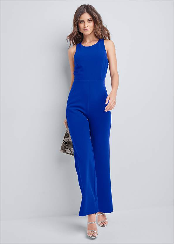 Full Front View Strappy Back Jumpsuit