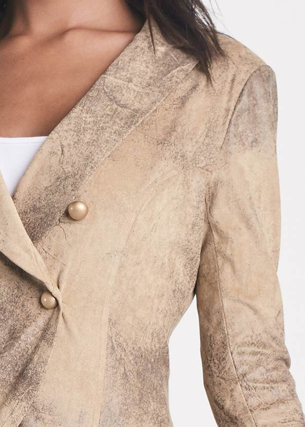 Detail front view High Low Faux Suede Blazer