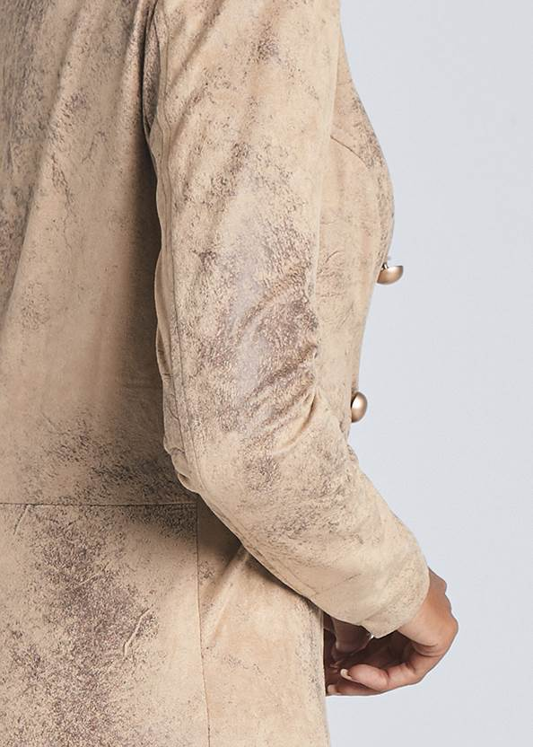 Detail back view High Low Faux Suede Blazer