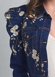Detail front view Embroidered Jean Jacket