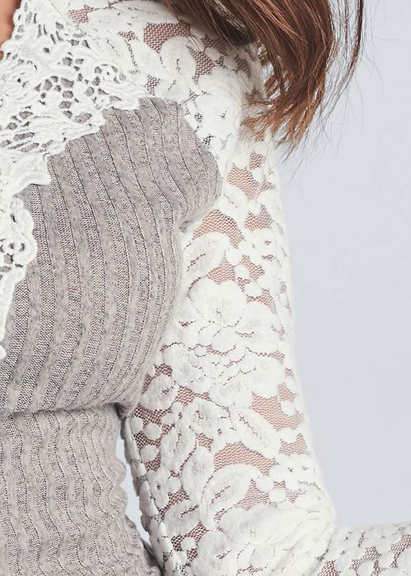 Detail front view Lace Detail Ribbed Top